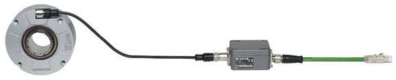 Die Interface-Elektronik EIB 2391S, hier angeschlossen an ein RCN-Winkelmessgerät